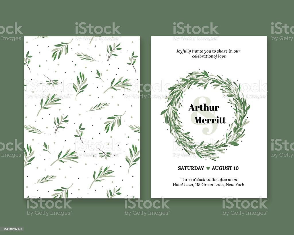 Invitation to the wedding with plant pattern vector art illustration