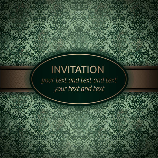 invitation vector card in green with gold ribbon - gothic fashion stock illustrations, clip art, cartoons, & icons