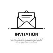 Invitation Vector Line Icon - Simple Thin Line Icon, Premium Quality Design Element
