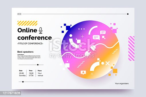 istock Invitation web banner to the online conference. Business webinar invitation design. Announcement poster concept. Modern abstract technology background with place for text. Vector eps 10. 1217671628