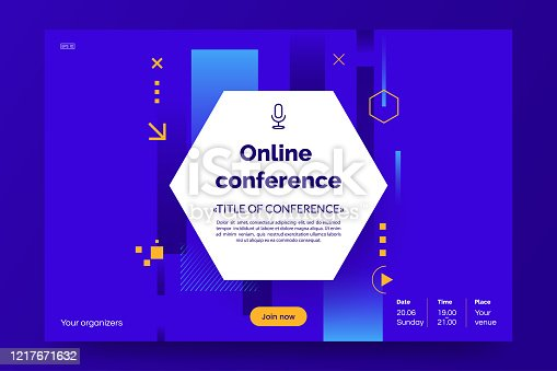 Invitation banner to the online conference. Business webinar invitation design. Announcement poster concept. Modern abstract background with place for text. Vector eps 10.