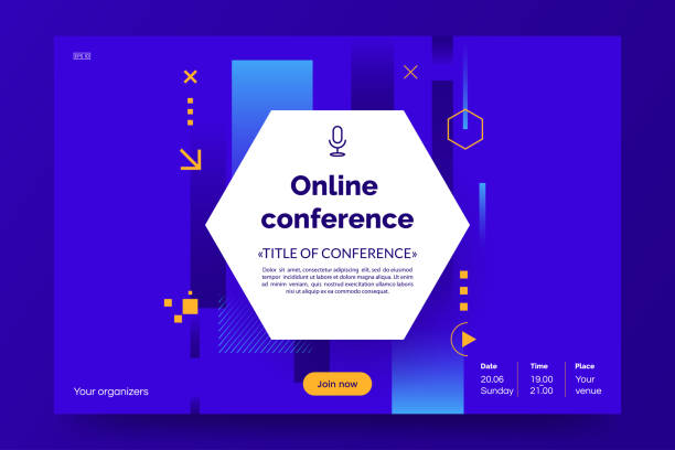 ilustrações de stock, clip art, desenhos animados e ícones de invitation web banner to the online conference. business webinar invitation design. announcement poster concept. modern abstract background with place for text. vector eps 10. - webinar anuncio