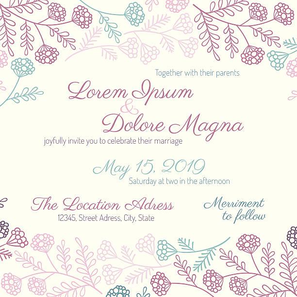 Cartão de Convite de Casamento - ilustração de arte vetorial