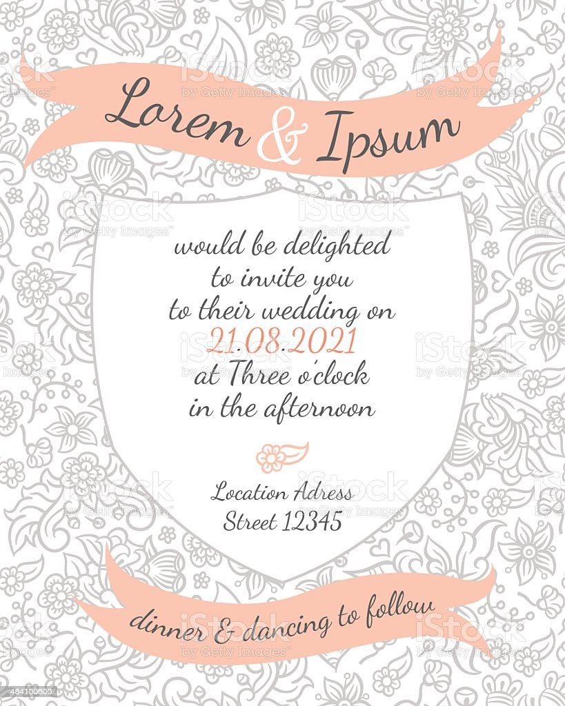 Invitation Wedding Card Vector Template Stock Illustration Download Image Now
