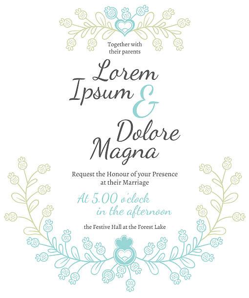 Modelo de vetor de cartão de Convite de Casamento - ilustração de arte vetorial
