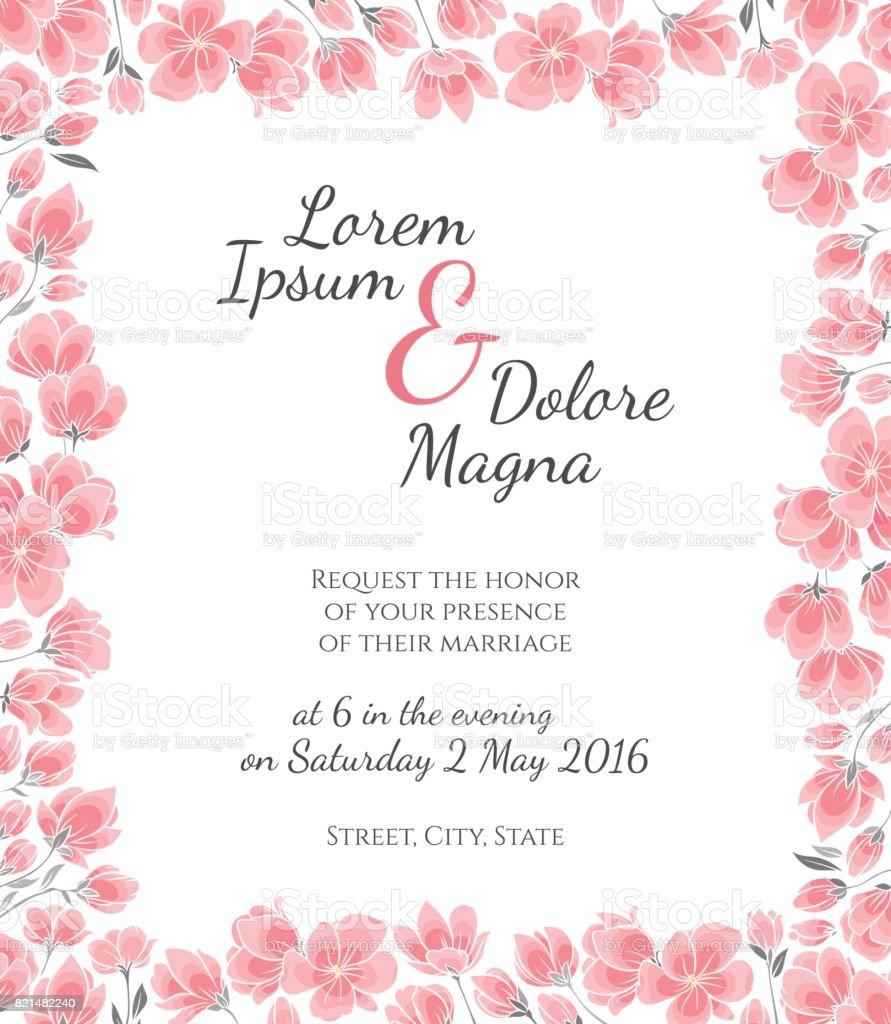 Carte d'invitation mariage avec fleurs de cerisiers sakura vecteur modèle - Illustration vectorielle