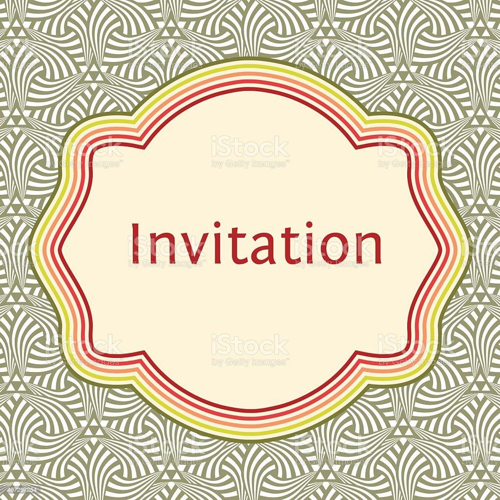 Hochzeit Einladung Grußkarte Mit Vorlage Elegante Rahmen über Muster ...