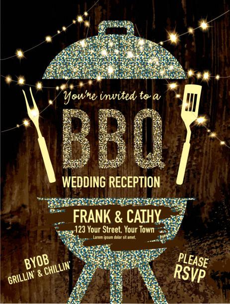bbq invitation wedding reception design template - wedding stock illustrations, clip art, cartoons, & icons