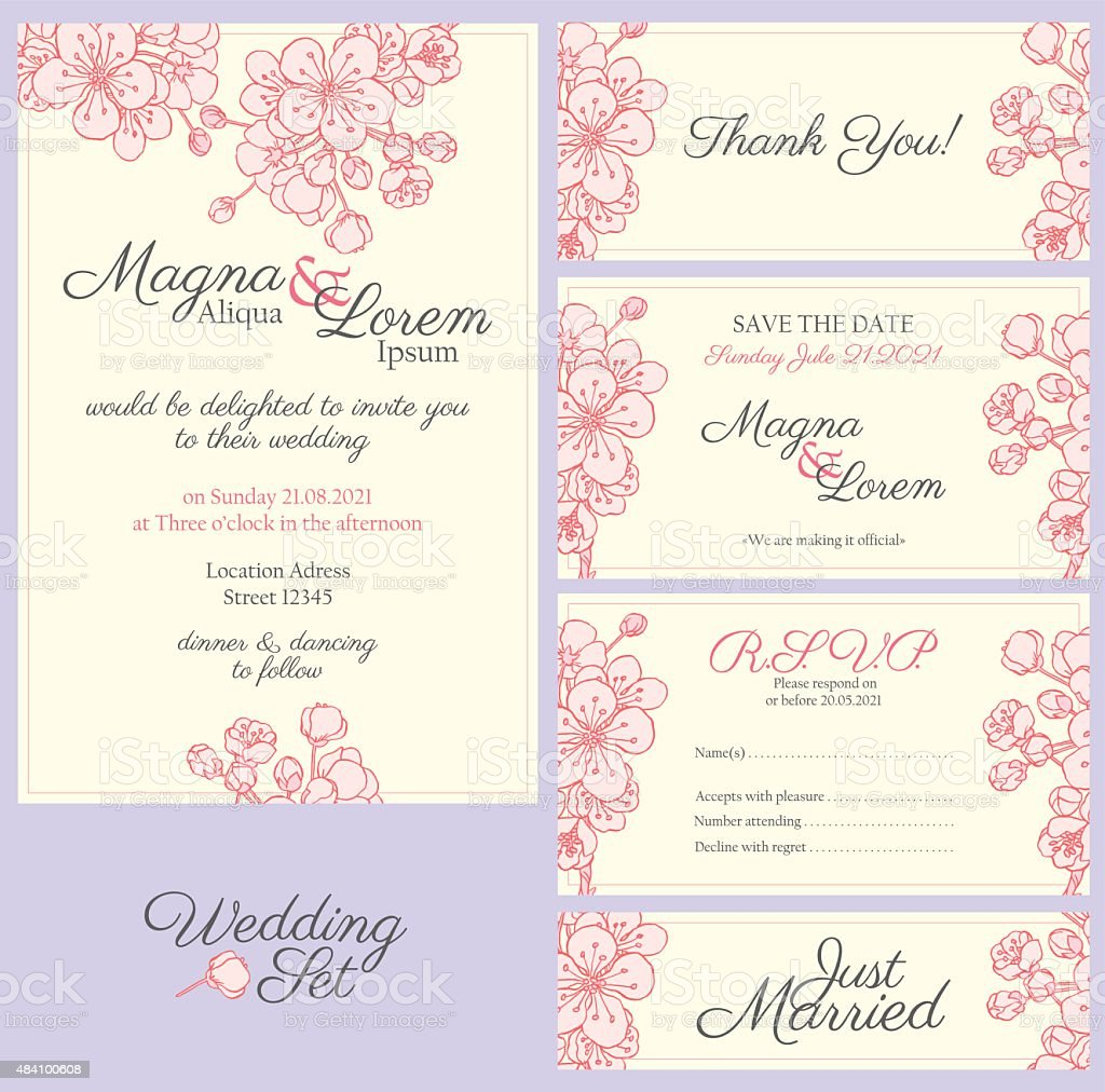 Invitation wedding set vector art illustration