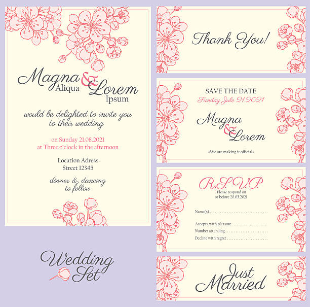 invitation wedding set - bachelorette party stock illustrations, clip art, cartoons, & icons