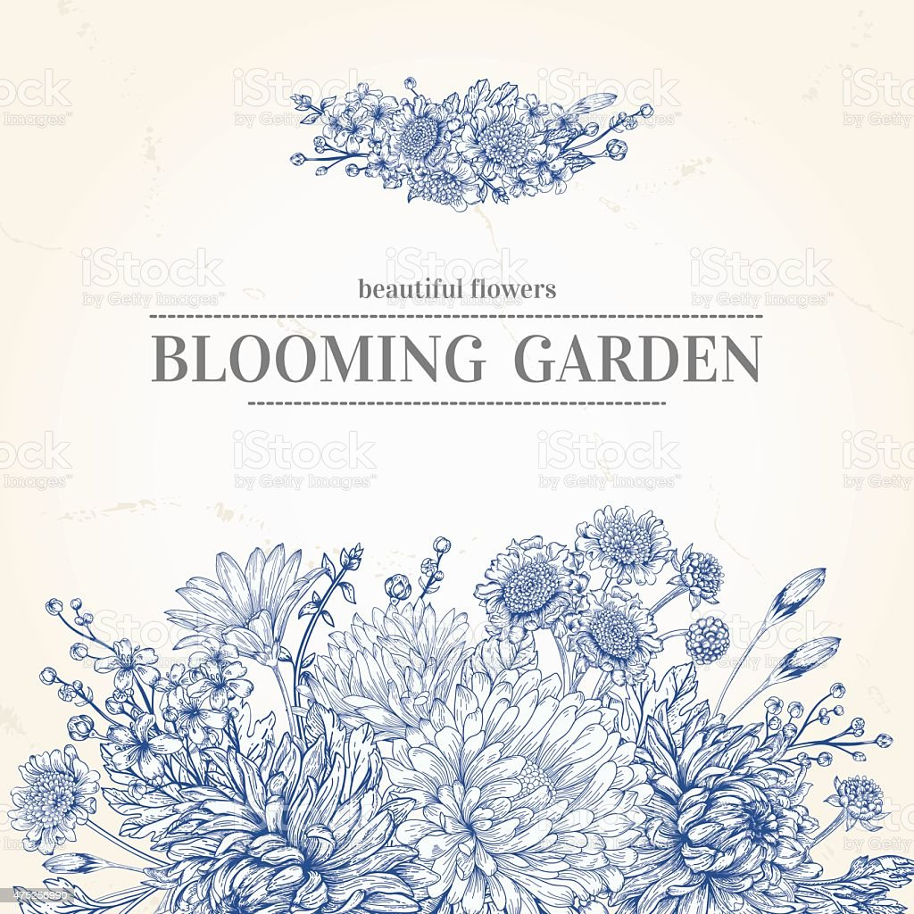 Invitation with a blue flowers. vector art illustration