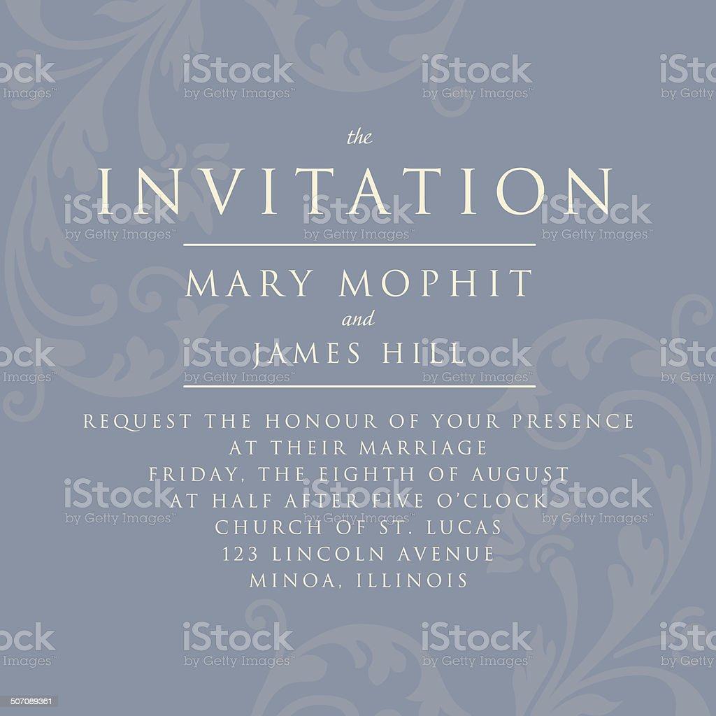 Invitation with a rich background in Renaissance style. Template vector art illustration
