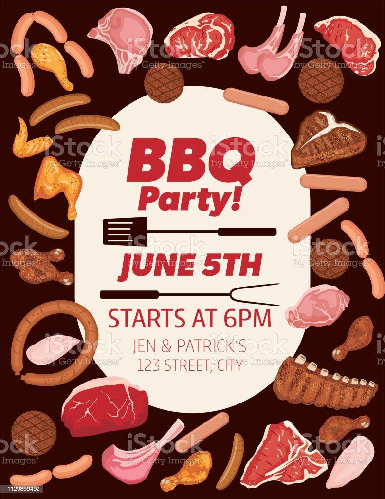 Verbazingwekkend Uitnodiging Voor Barbecue Met Voedingsmiddelen Grill En Ruimte SS-77