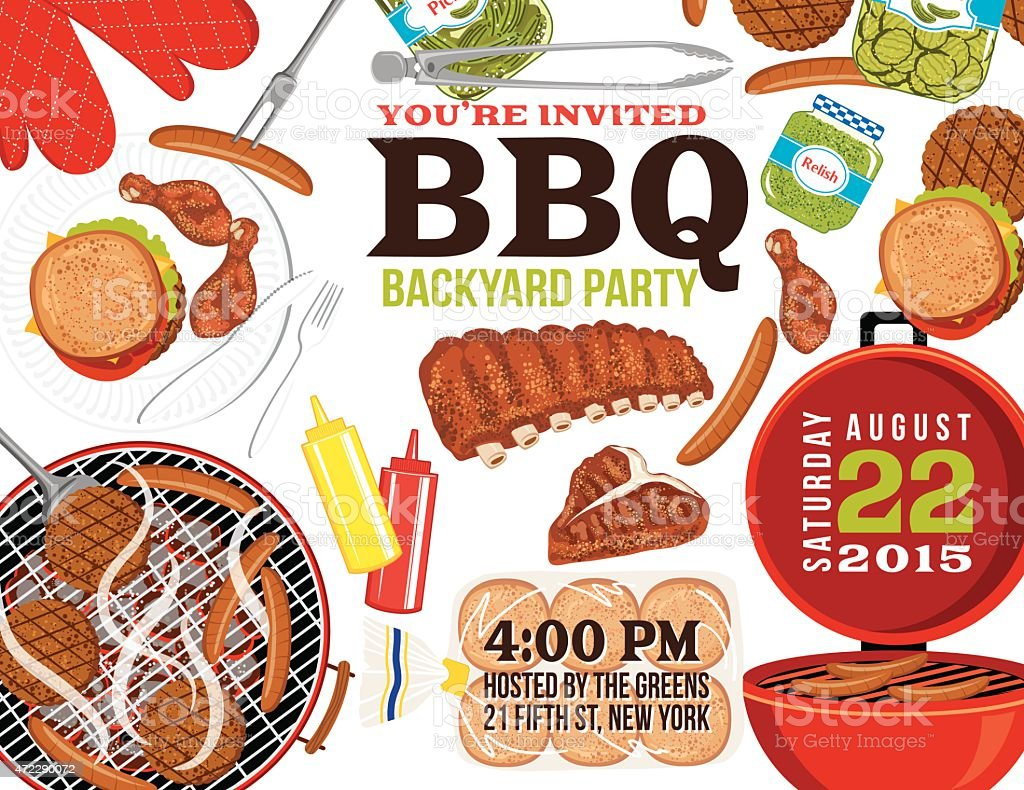 BBQ Invitation With Foods, Grill and Room For Text vector art illustration