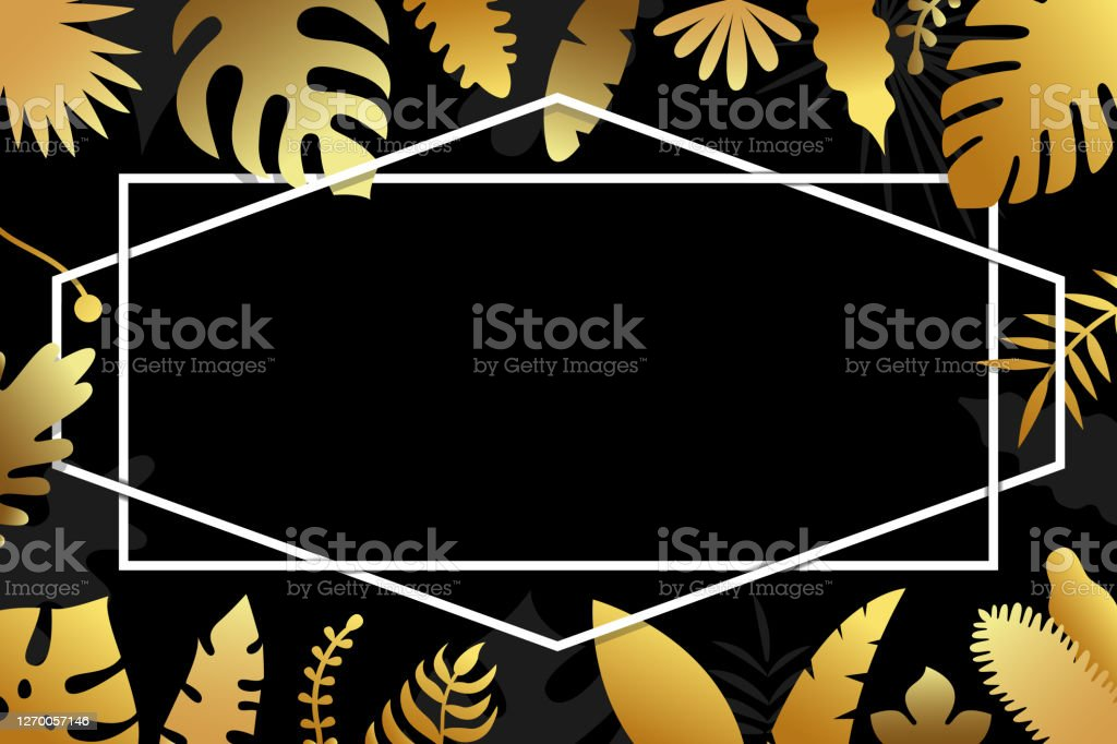 Invitation With Gold Tropical Leaves Cover Design On Dark Background With Geometrical Polyhedron Luxury Botanical Design For Ceremony Vector Illustration Stock Illustration Download Image Now Istock Green leaves green leaves tropical tropical leaves green tropical high definition picture leaf plants background nature texture wood veins tree season plant red yellow green shoots color drops dew pattern close up autumn flora abstract fresh orange branches grain drops of water bright maple foliage. invitation with gold tropical leaves cover design on dark background with geometrical polyhedron luxury botanical design for ceremony vector illustration stock illustration download image now istock