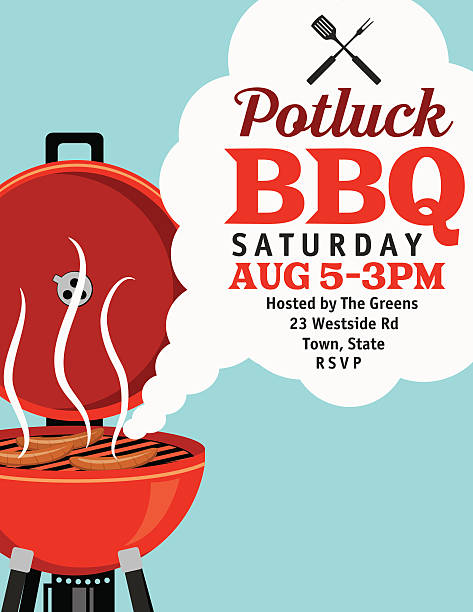 BBQ Invitation With Smoke Template vector art illustration