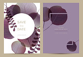 Violet leaves on white and lilac background. Template card for the wedding, birthday and celebration.