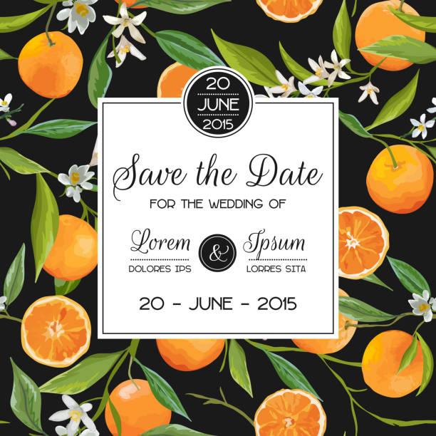 Invitation/Congratulation Card Set - for Wedding, Baby Shower Invitation/Congratulation Card Set - for Wedding, Baby Shower - in vector citrus fruit stock illustrations