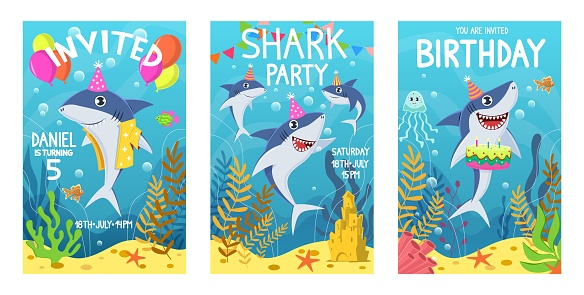 Invitations card with cute sharks. Color greeting card, undersea world animals. Shark, seaweed and fish kids party cartoon vector poster