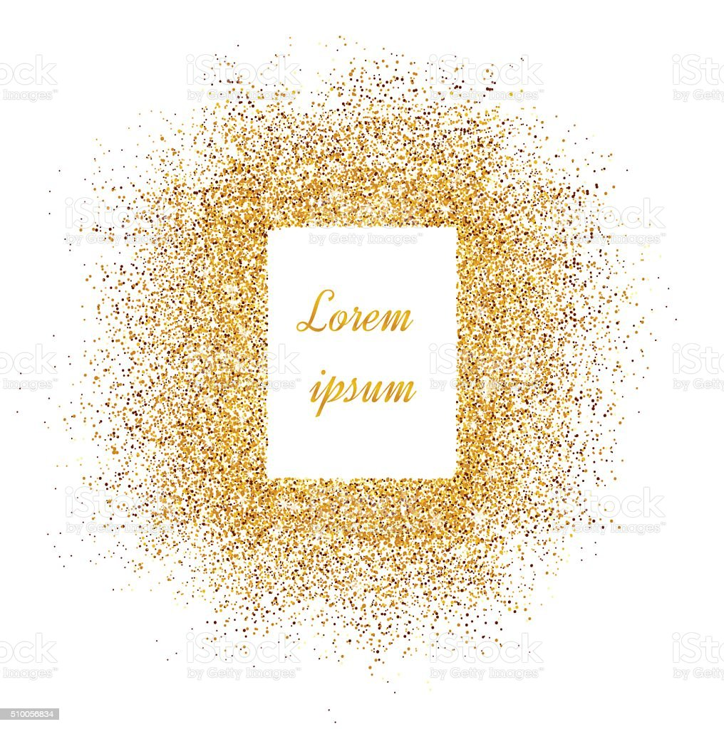 Invitations with gold glitter texture. vector art illustration
