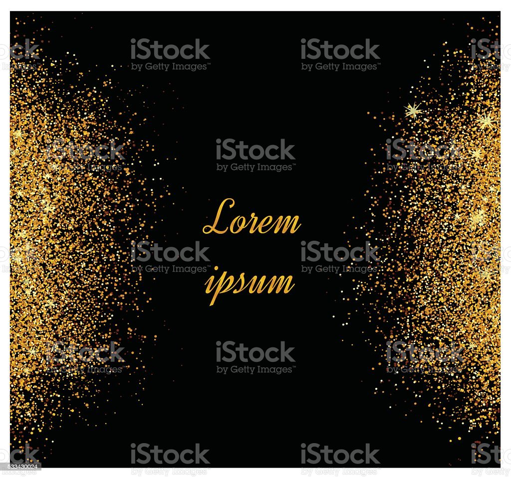 Invitations with gold glitter texture. vector art illustration