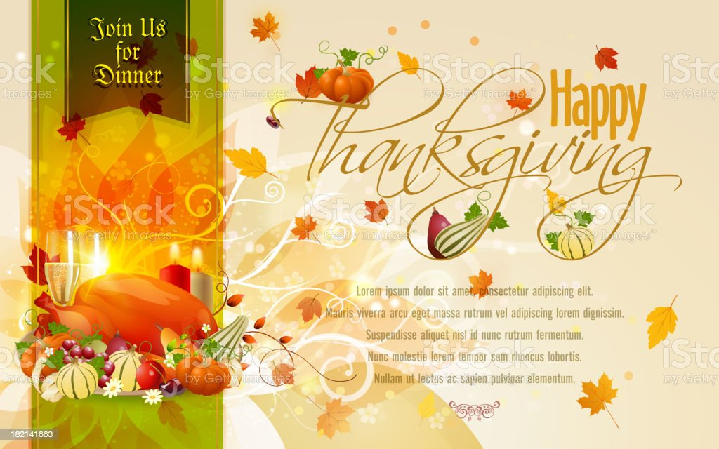 invite for a thanksgiving dinner decorated in autumn colors stock