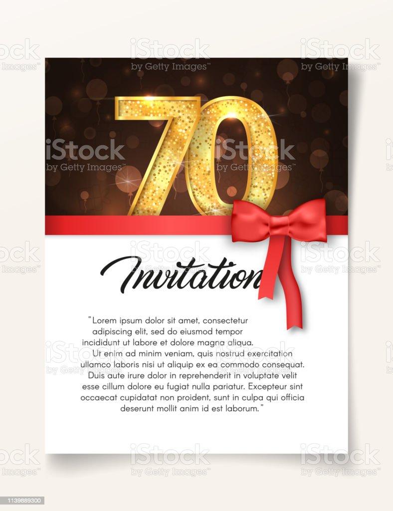 Ilustración De Invitar Al Jubileo De Los 70 Años Plantilla De Tarjeta De Invitación De Boda Hasta El Día Del 70 Aniversario Con Ilustración De Vector