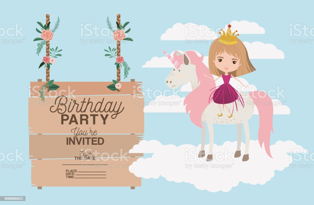 Invited Birthday Party Card With Unicorn And Princess Immagini
