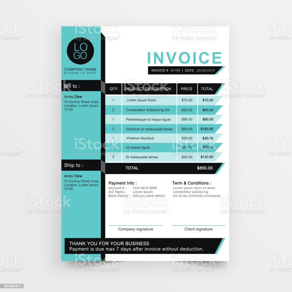 invoice blue minimal. royalty-free invoice blue minimal stock vector art & more images of blue