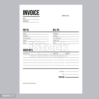 Invoice Business Template A4 European Standard Paper Stock Vector ...