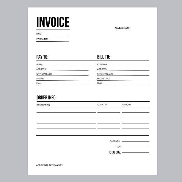 invoice business template letter usa standard paper stock vector art