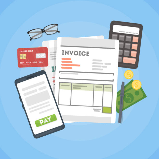 Invoice concept illustration. Invoice concept illustration. Invoice documents with calculator, mpney and cards. budget backgrounds stock illustrations