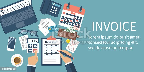 Invoice concept. Man at table, calculations on payment, bills, receipts, invoices. Flat design, abstract vector illustration. Accounting checking. Paperwork, calculation. Money counting. Web banner.
