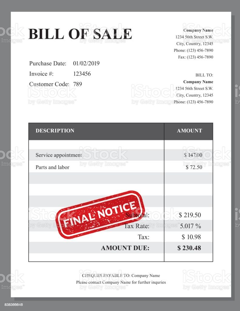 Invoice Design Template With Stamp Impression Stock Vector Art