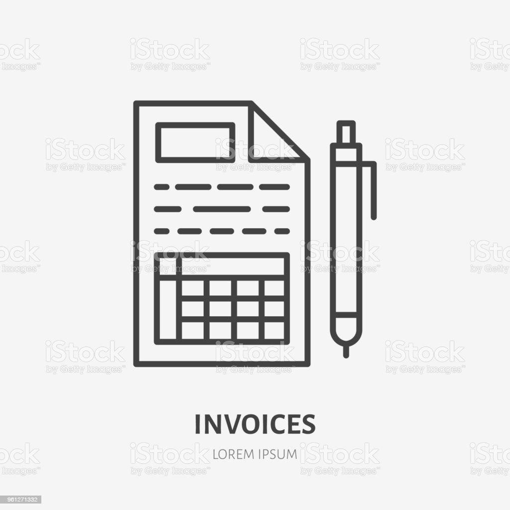 invoice flat line icon receipt paper with pen sign thin linear logo