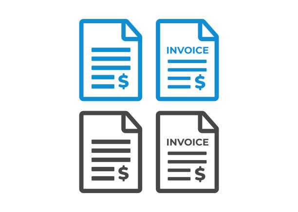 illustrazioni stock, clip art, cartoni animati e icone di tendenza di invoice icon. payment and billing invoices vector icon - debito