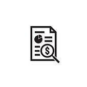 Invoice line icon. Payment money dollar bill symbol. budget cost finance report document with chart. Small data concept. Accounting business management line sign. outline vector illustration design