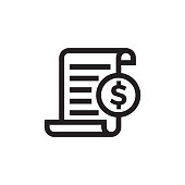 istock Invoice or bill vector icon of payment document page 1042581782