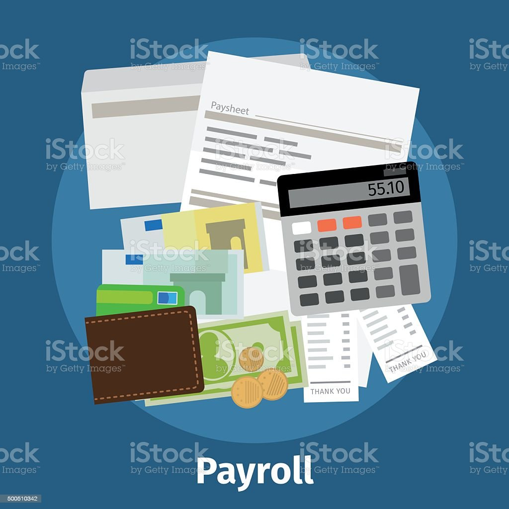 Invoice sheet, paysheet or payroll icon vector art illustration