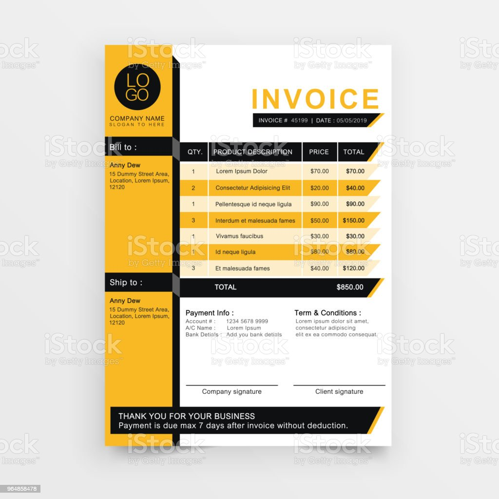 invoice yellow minimal. royalty-free invoice yellow minimal stock vector art & more images of business