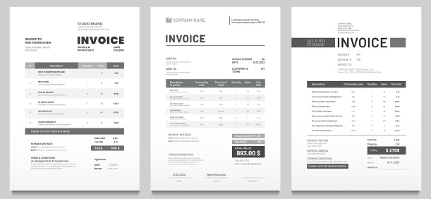 Invoices templates. Price receipt, payment agreement and invoice bill template vector set