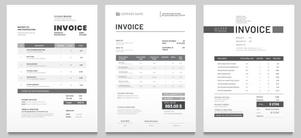 invoices templates. price receipt, payment agreement and invoice bill template vector set - лекало stock illustrations