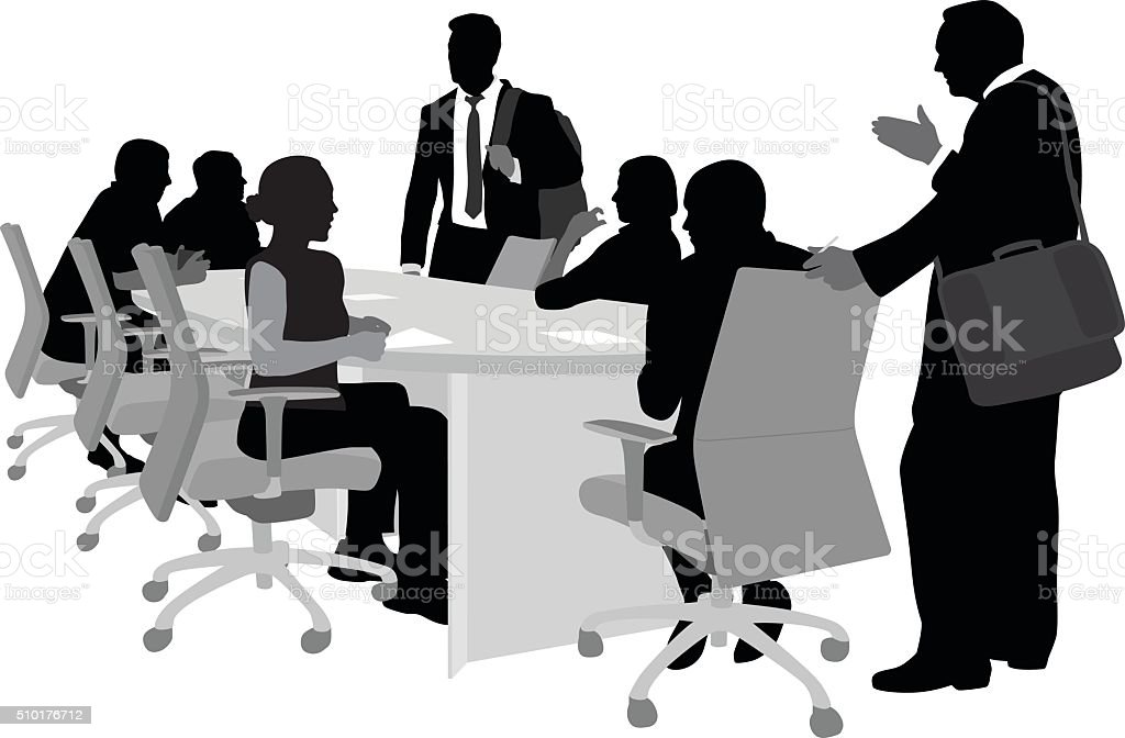 Involved Business Men And Women vector art illustration