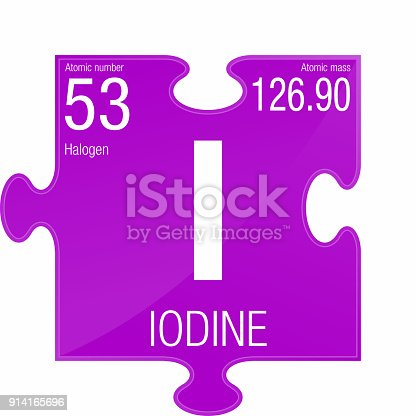 Iodine Symbol Element Number 53 Of The Periodic Table Of The