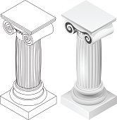 ionic column style isometric view isolated