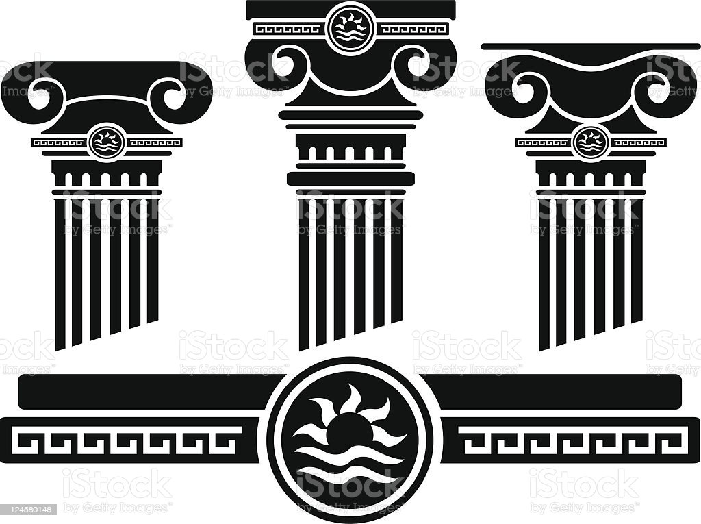 ionic columns and pattern vector art illustration