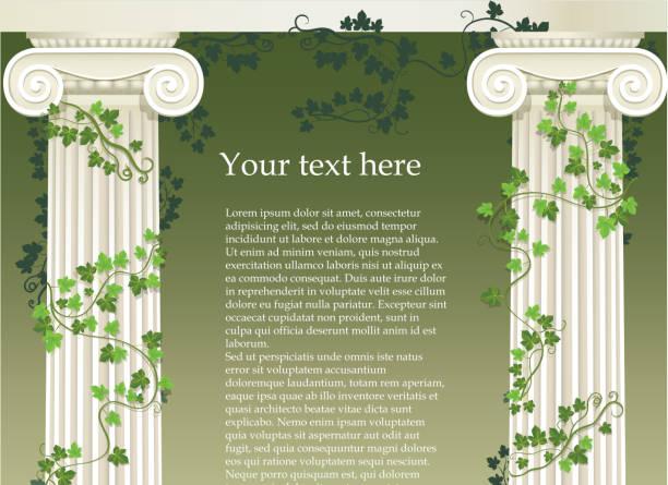 ilustrações de stock, clip art, desenhos animados e ícones de jónico colunas - ivy building
