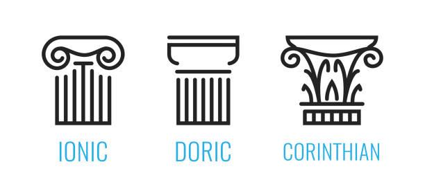 ilustrações, clipart, desenhos animados e ícones de ordens iônicas da grécia antiga. ionic, dorian, formas do lineart da coluna de corintian isoladas no fundo branco. - capitel