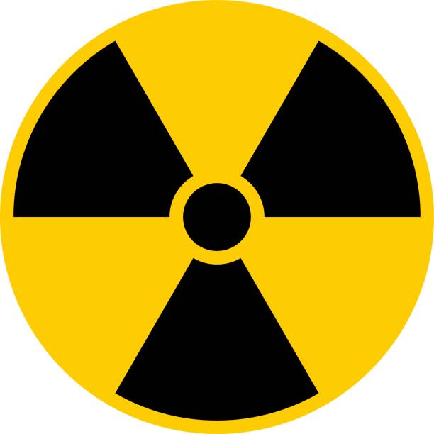 illustrazioni stock, clip art, cartoni animati e icone di tendenza di ionizing radiation symbol attention danger warning sign - reattore nucleare