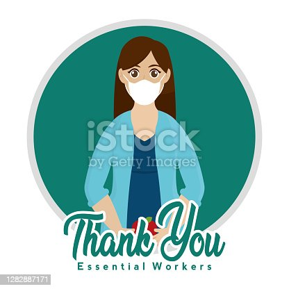 Ioslated Teacher blue thank you essentials workers- Vector